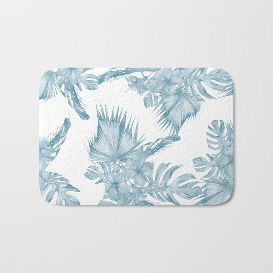 Palm Leaf Hibiscus Classic Blue + White Bath Mat