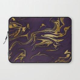 Dark Purple Gold Marble Laptop Sleeve
