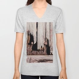 Eroded And Weathered Wooden Planks, Cracks And Chips Unisex V-Neck