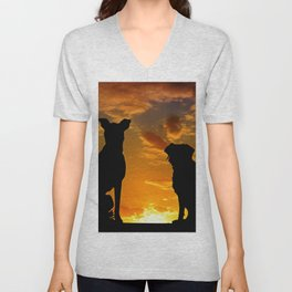 TWO DOGS AT SUNSET Unisex V-Neck