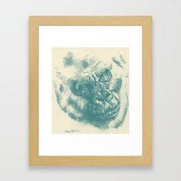 Gorilla Sketch in blue Framed Art Print