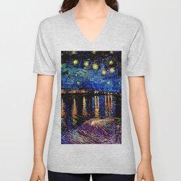 Over the rhone(starry night) Unisex V-Neck