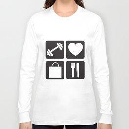 Gym Love Shop Eat Women Racerback Tank Top Shirt Crossfit Train Yoga Gym T-Shirts Long Sleeve T-shirt
