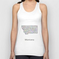montana Tank Tops featuring Montana map by David Zydd