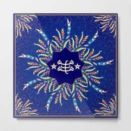 Baha'i ring stone symbol in blue Metal Print