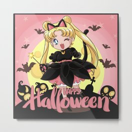 Happy Halloween Usagi Metal Print