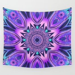The floral kaleidoscope in pink, purple, blue and turquoise Wall Tapestry