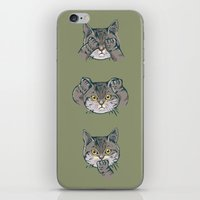 evil iPhone & iPod Skins featuring No Evil Cat by Huebucket
