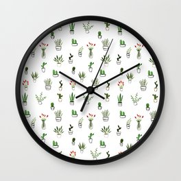 Green plants pattern Wall Clock