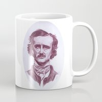edgar allen poe Mugs featuring Edgar Allen Poe by danielle n horowitz