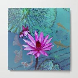 Pond Koi | water lilies lotus flower  Metal Print