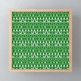 Green & White Nordic Ugly Sweater Christmas Pattern Framed Mini Art Print