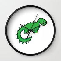 dinosaur Wall Clocks featuring Dinosaur by Chloe Meister