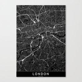 London Black Map Canvas Print