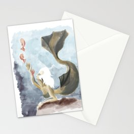 Mermaid with offspring Stationery Cards
