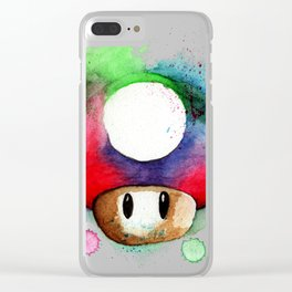 1UP Mushroom MArio Game Watercolor art Print Clear iPhone Case