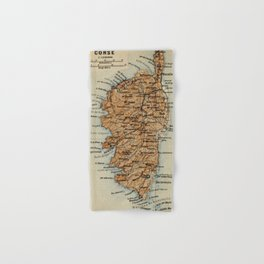 Vintage Corsica France Map (1886) Hand & Bath Towel