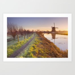 Traditional Dutch windmill near Abcoude, The Netherlands at sunrise Art Print