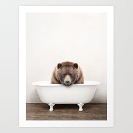 Brown Bear in a Vintage Bathtub (c) Art Print