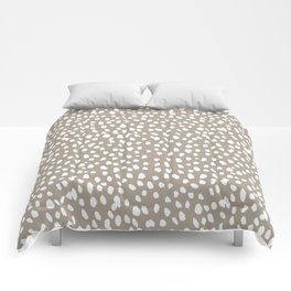 White on Dark Taupe spots Comforters
