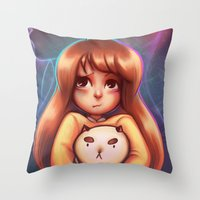 puppycat Throw Pillows featuring Bee and Puppycat by Dani Taillefer