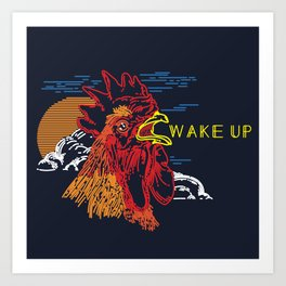 Wake Up Monoline Rooster Graphic Art Print
