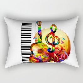 Colorful  music instruments painting, guitar, treble clef, piano, musical notes, flying birds Rectangular Pillow