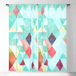 Modern abstract pink aqua turquoise watercolor geometrical Blackout Curtain