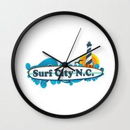 Surf City - North Carolina. Wall Clock