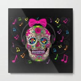Sugar Skull Music Metal Print