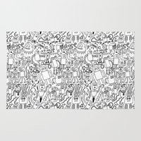 robots Area & Throw Rugs featuring Infinity Robots Black & White by Chris Piascik