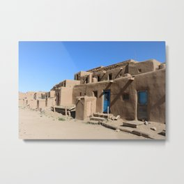 Taos Pueblo Village Road Metal Print