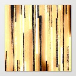 Brown Beige Yellow Black Stripes Canvas Print