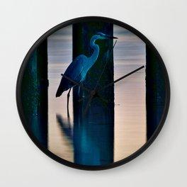 Early Evening Heron Wall Clock