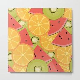 Kiwis, Watermelon & Oranges Metal Print