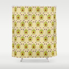 Happy Avocados on Tan Shower Curtain