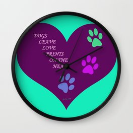 Dogs Leave Love Prints On The Heart By Annie Zeno  Wall Clock
