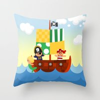 pirate ship Throw Pillows featuring pirate ship by Alapapaju