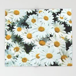 Daisies explode into flower Throw Blanket