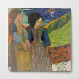 Two Breton Girls by the Sea by Paul Gauguin Metal Print