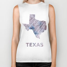 Texas map outline Dark gray stained watercolor pattern Biker Tank