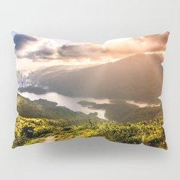 Hong Kong Mountainscape at sun Pillow Sham