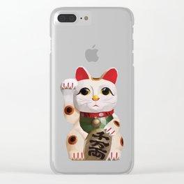 Maneki Neko (Fortune Cat) Polygon Art Clear iPhone Case