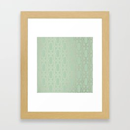Simply Mid-Century in White Gold Sands and Pastel Cactus Green Framed Art Print