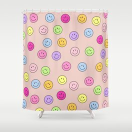 Smiley Face Print Smile Face Happy Smiling Faces Rainbow Colors Pattern Shower Curtain