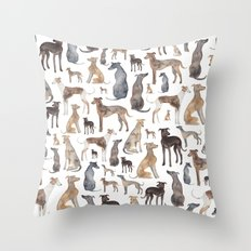 Greyhounds and Whippets Throw Pillow