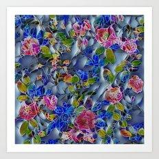 embossed floral Art Print