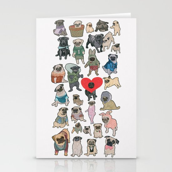 Pugs Stationery Cards