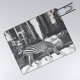 Black and White Zebra in NYC Picnic Blanket