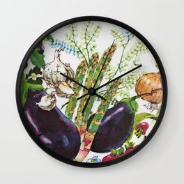 Vegetables I Wall Clock